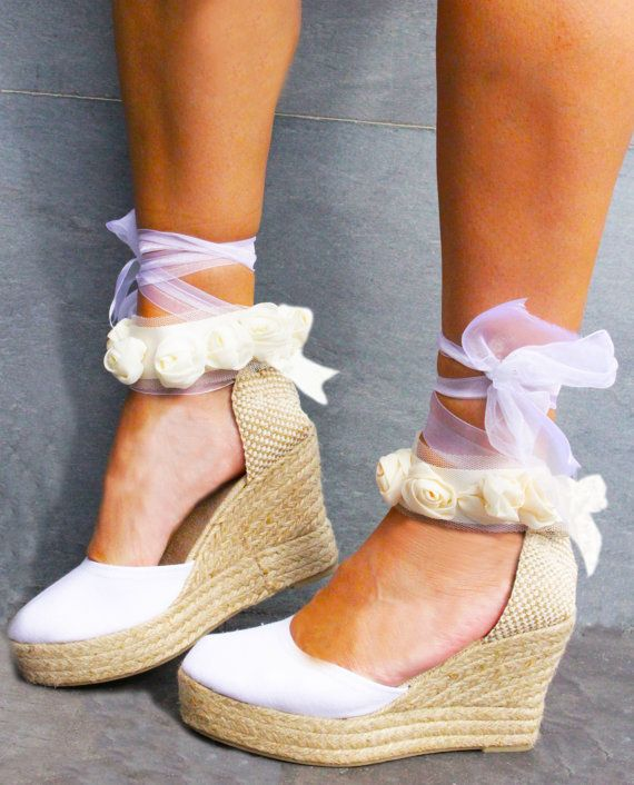 c16ff6484b1 AUDREY PLATFORM Wedge Lace Up Espadrille Boho style Wedding   Shoes ...