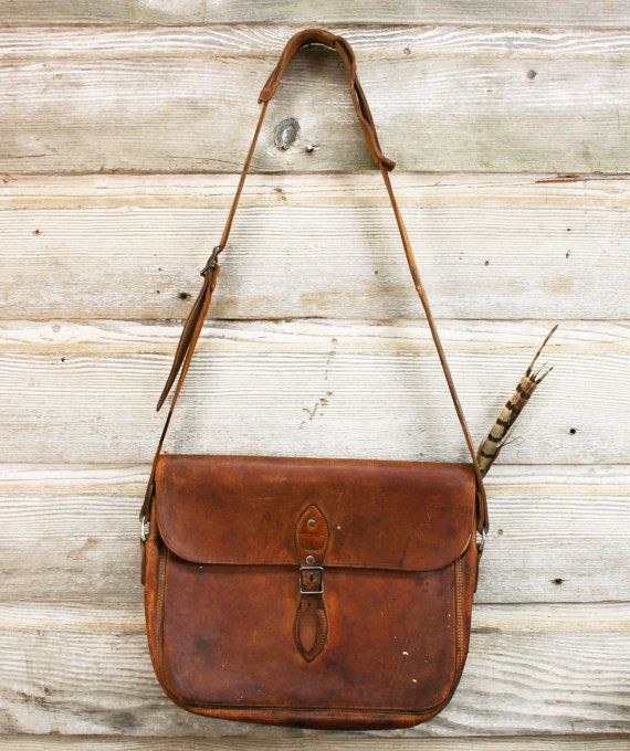 Vintage Leather Bag -- Surveyor's Satchel