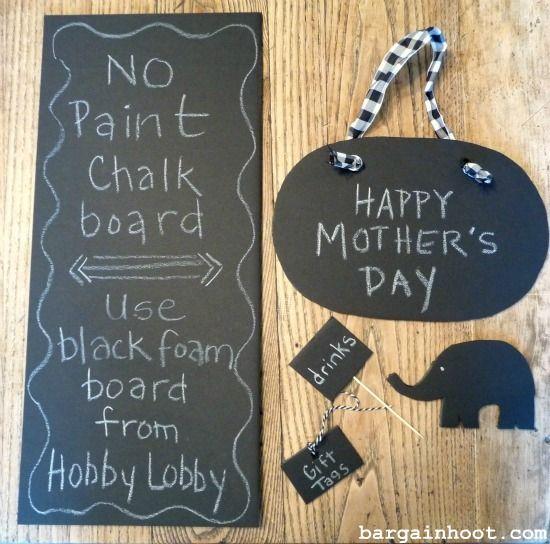 Easy No Paint Chalkboard Use Black Foam Board Foam Board Crafts Chalkboard Projects Chalkboard