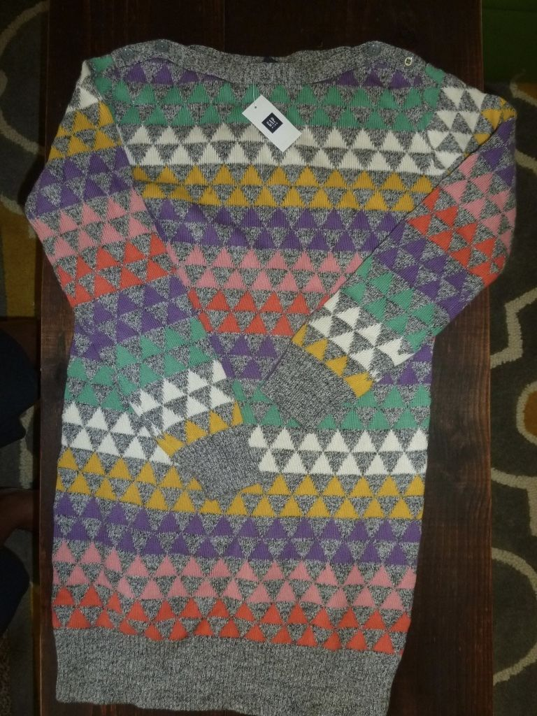 A7 GAP KIDS funky geometric silver SweATER dress Nwt size 12 girls retail