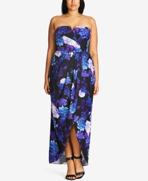 e785e8f56a5 City Chic Plus Size Floral-Print Convertible Maxi Dress - Black 18W