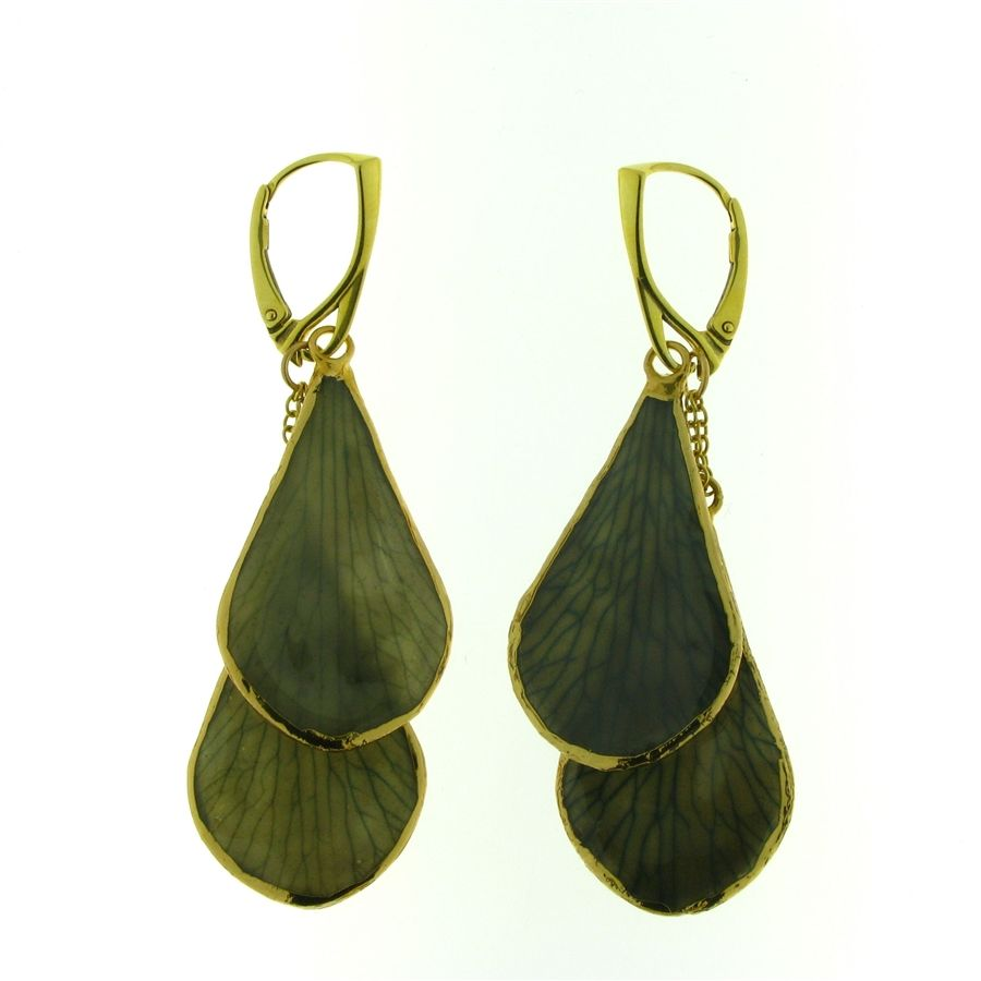 Sterling silver gold-plated authentic forest green flower petal double drop earrings