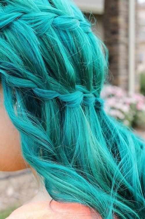 blue hair - green hair