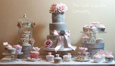 Dove grey and pink cake table  Cake by Paula