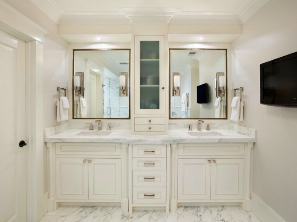Furniture Exciting Design Bathroom Vanity Tower Cabinets With White Color Wooden Bathroom Master Bathroom Vanity White Master Bathroom Master Bathroom Design