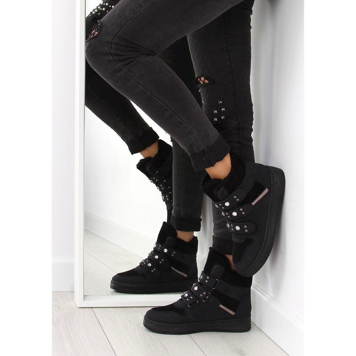 Tenisowki Damskie Obuwiedamskie Ocieplane Trampki Za Kostke Czarne Zjy 29 Obuwie Damskie Black Jeans All Black Sneakers Fashion
