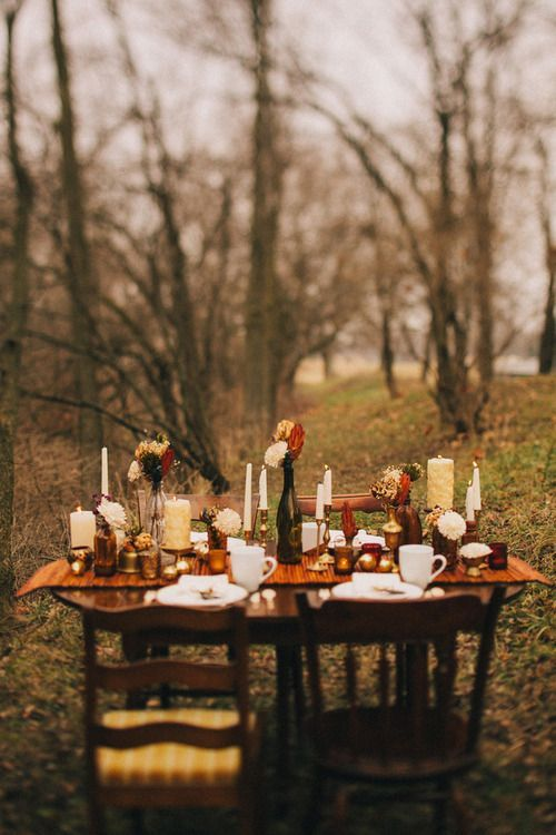 Autumn Dinner Party Ideas Part - 42: Outdoor Table Setting For A Fall Party