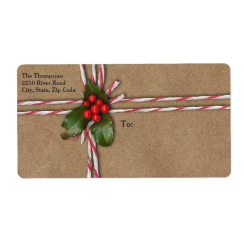 Rustic Christmas Kraft Paper with Holly Berries Label
