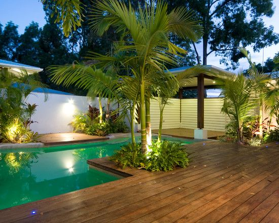 A Great Design To Incorporate Tropical Landscape With The Pool Wood Pool Deck Pool Landscaping Pool Decor