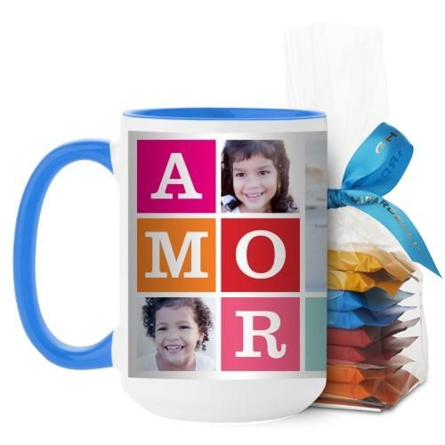 Amor Mug, Light Blue, with Ghirardelli Minis, 15 oz, Blue