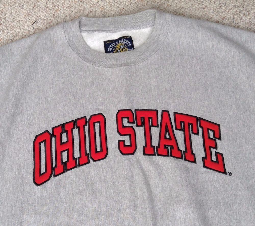 Vtg Ohio State Buckeyes Crewneck Sweatshirt Heather Gray Sewn Crew