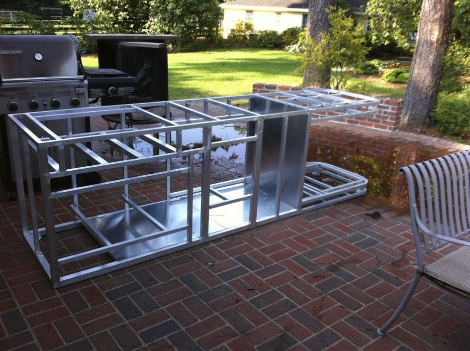 Impressive Aluminum Frames For Outdoor Kitchens With Modular 4 Burner Gas Bbq On Casters And Build Outdoor Kitchen Modular Outdoor Kitchens Diy Outdoor Kitchen