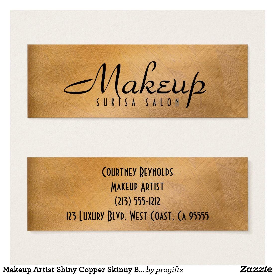 Makeup Artist Shiny Copper Skinny Business Cards