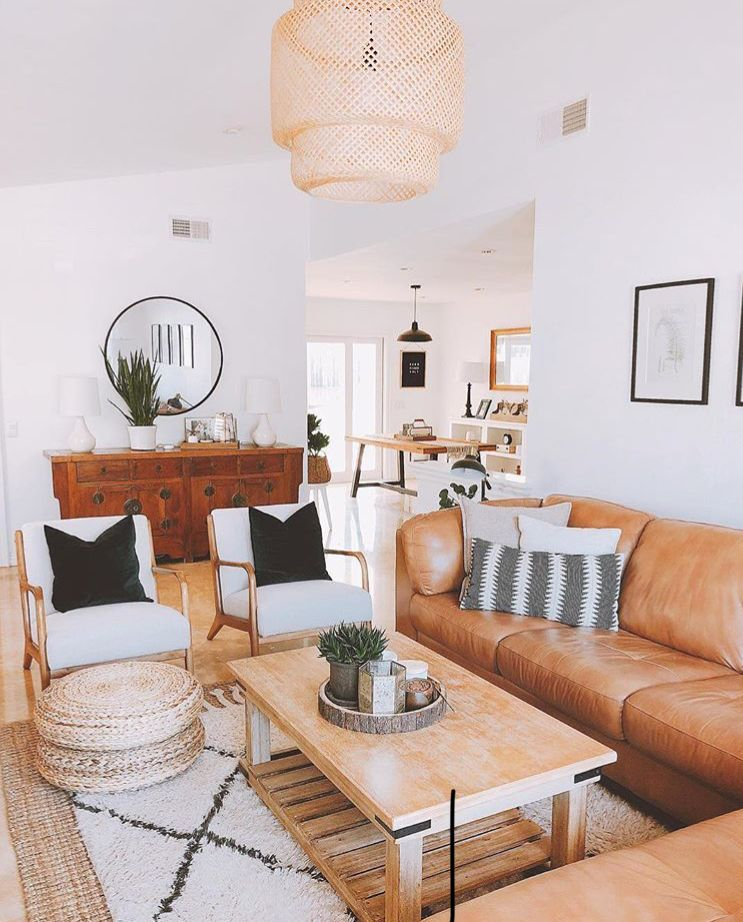 Beautiful Minimalist Living Room Tan Couches And Bohemian Modern Wooden Pieces Bright Living Room Living Room Inspiration Room Interior #tan #sofa #living #room #ideas