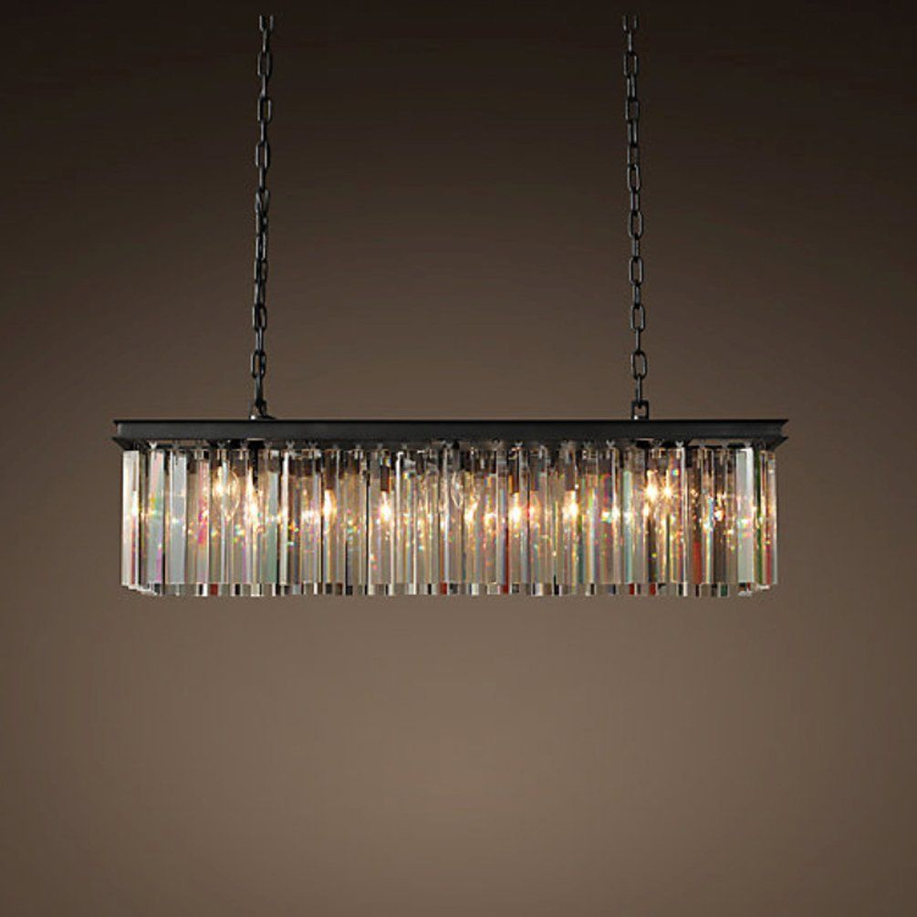 Aiwen rectangular single crystal chandelier pendant light celling aiwen rectangular single crystal chandelier pendant light celling lampbulbs not included black with arubaitofo Image collections