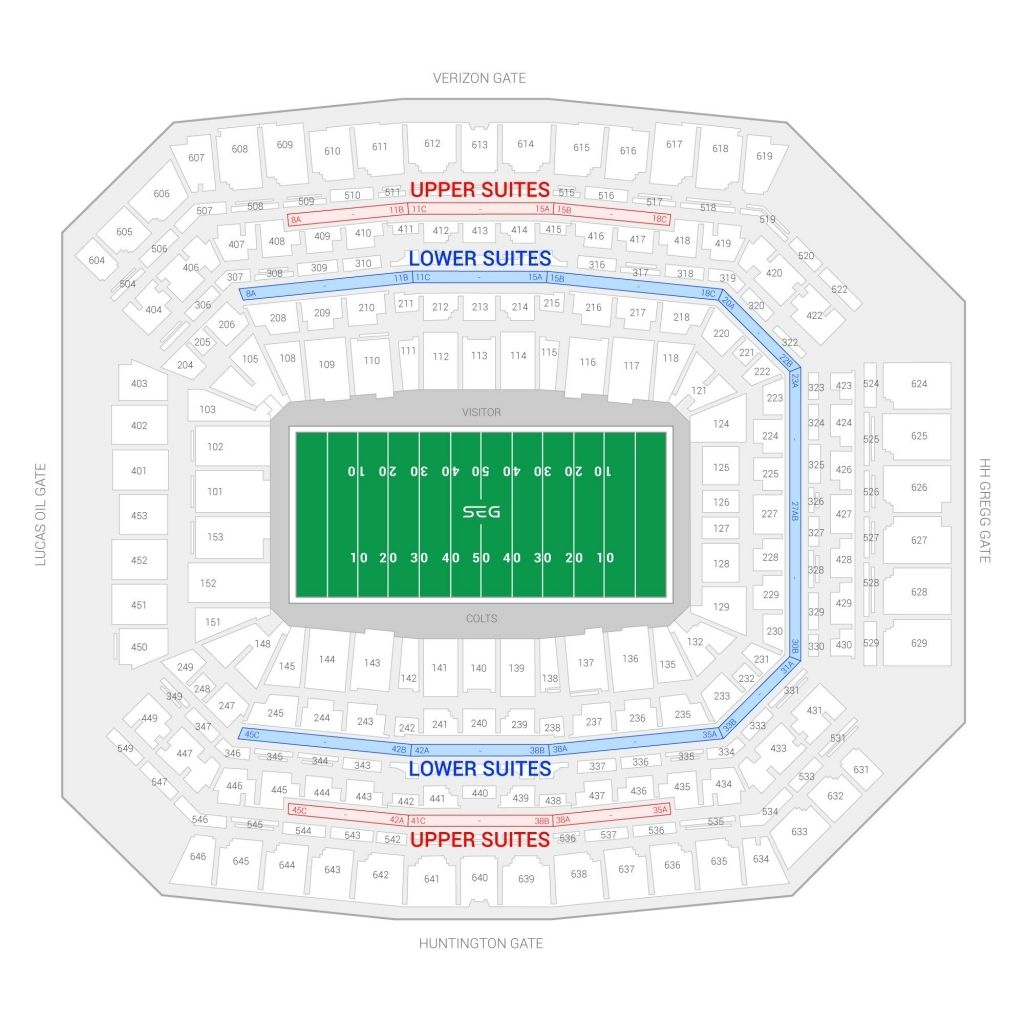 Gillette Stadium Seating Chart With Seat Numbers In 2020 Lucas Oil Stadium Seating Charts Indianapolis Colts