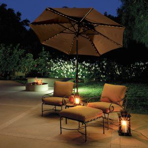 Lighted Umbrella For Patio Belham Living 9 Ftcollar Tilt Lighted Patio Umbrella  Patio Ideas