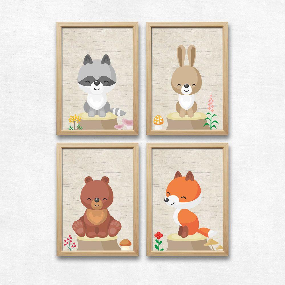Details zu Wald Tiere Wand Bild Set Kunstdruck A4 Bär Fuchs Hase ...