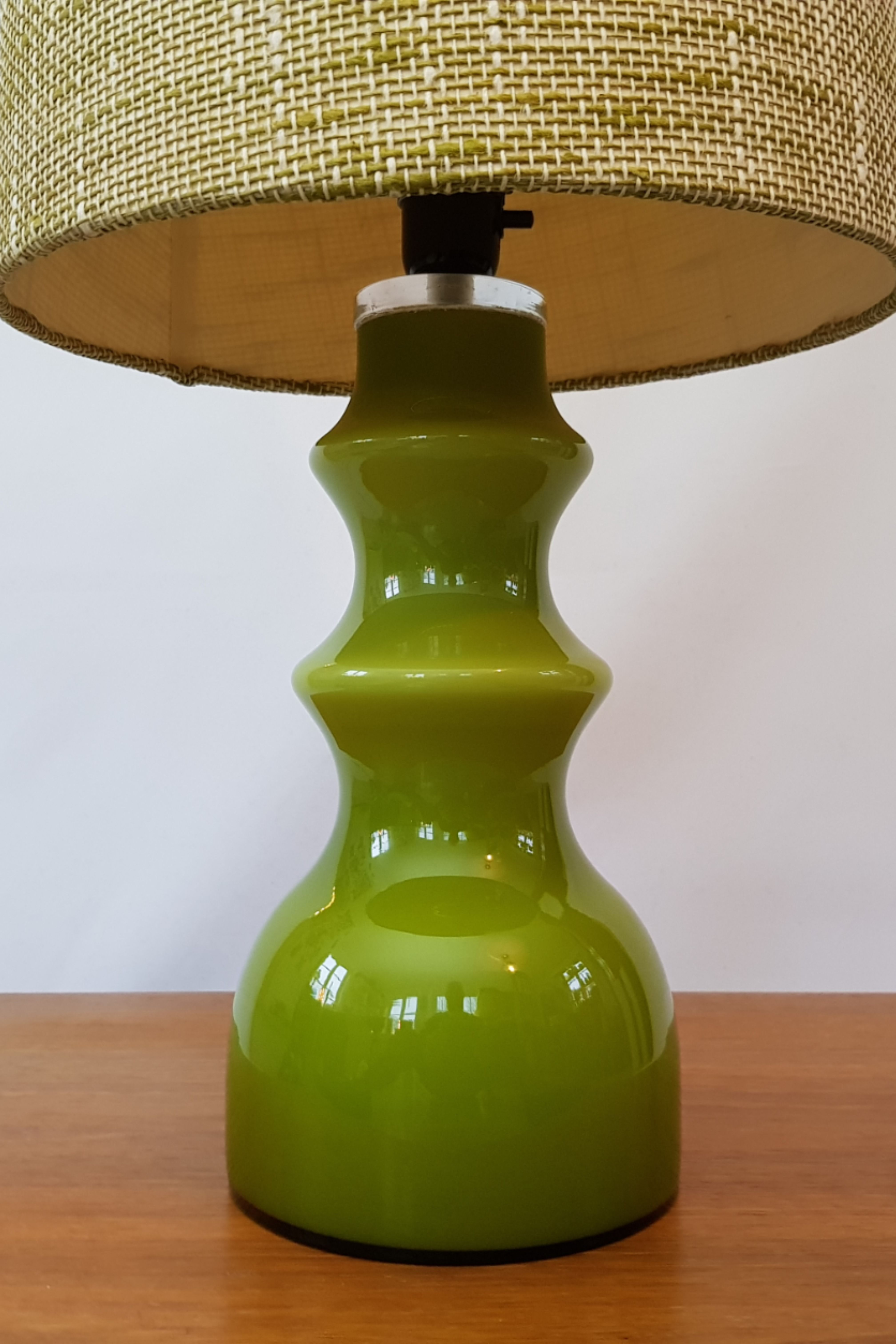 High Green Sommerso Glass Table Lamp With Shade Designed By Gert Nystrom For Hyllinge Glassworks Sweden 1960s Swedish Design Glass Table Lamp Lamp Table Lamp