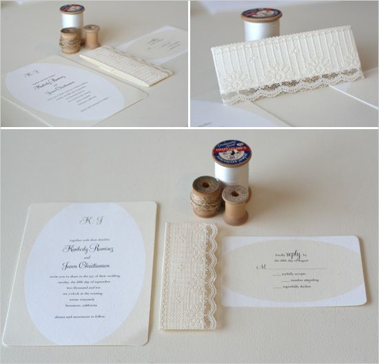 Simple wedding invitations with lace belly band