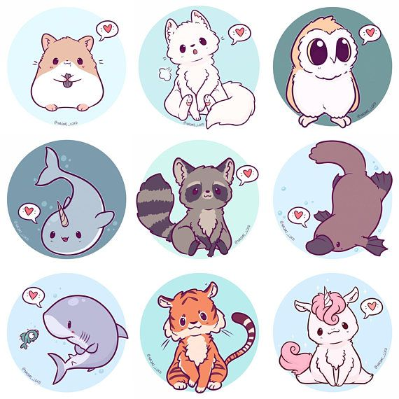 Image of: Vector Image Kawaii Animals Stickers Owl Snow Leopard Shiba Fox Husky Pinterest Kawaii Animals Stickers Owl Snow Leopard Shiba Fox Husky