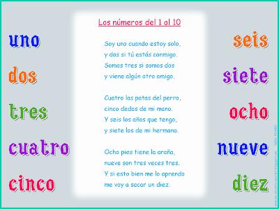 Me Encanta Escribir En Español Canción Los Números Del 1 Al 10 Del 1 Al 10 Canciones Canciones Infantiles