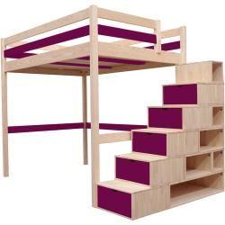 Lit mezzanine Sylvia avec escalier bois Abc Meublesabc Meubles  – Products