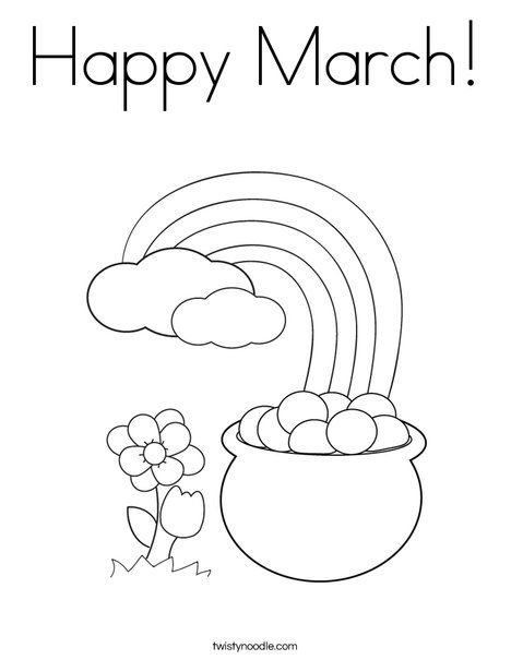 Happy March Coloring Page Twistynoodle Com Spring Coloring