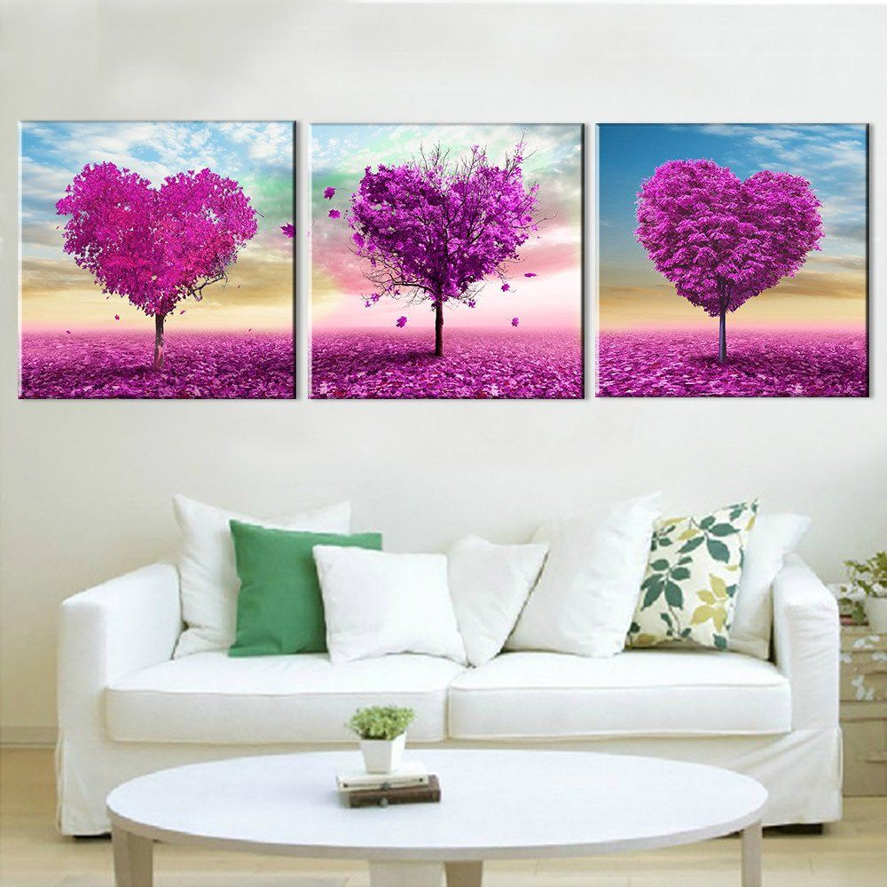 Paintings For Living Room Walls Oil Painting Canvas Print Landscape Pink Flower World Home