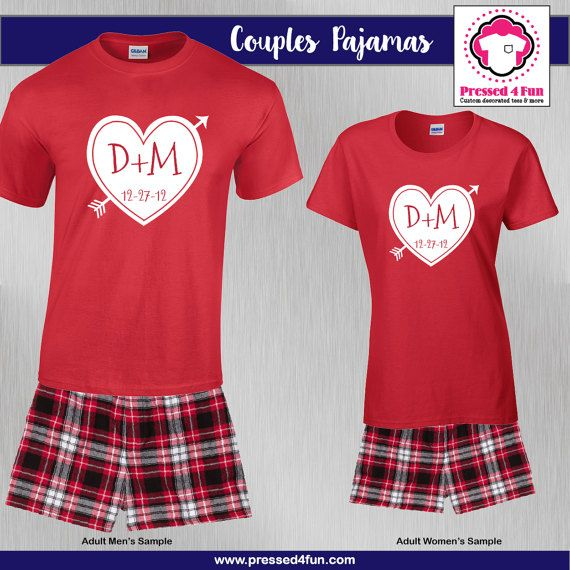 Valentine's Day Couples Pajamas - Boxers | Initial Heart Design | Pressed 4 Fun | Valentine's Day Gifts