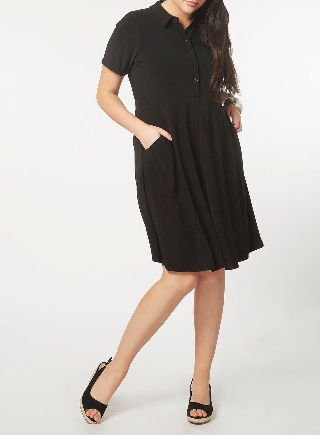 Black fit and flare shirt dress affiliate flare shirt