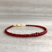Photo of Genuine Ruby Bracelet | Real Ruby Jewelry for Women, Men | Sterling Silver or Go…