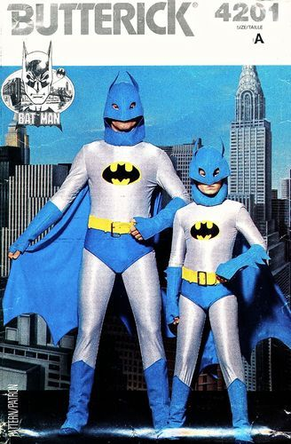 Butterick Pattern 4201 Vintage 80u0027s Adult DC Comics Batman Costume - Jumpsuit Hood Cape : 80s batman costume  - Germanpascual.Com