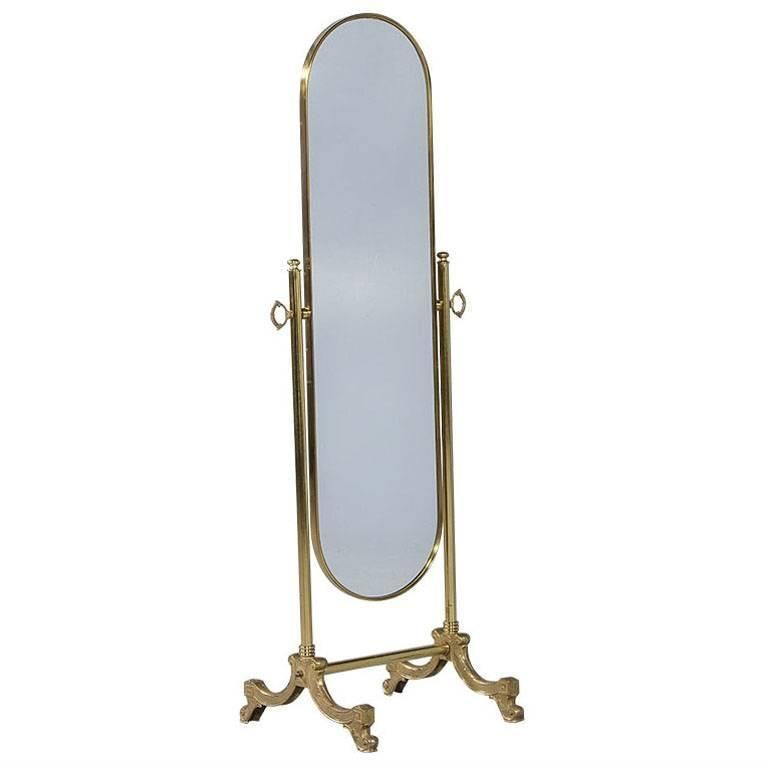 French Oval Cheval Mirror With Brass Stand From A Unique