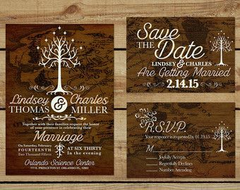 Lord Of The Rings Wedding Invitation Etsy Bigweddingring