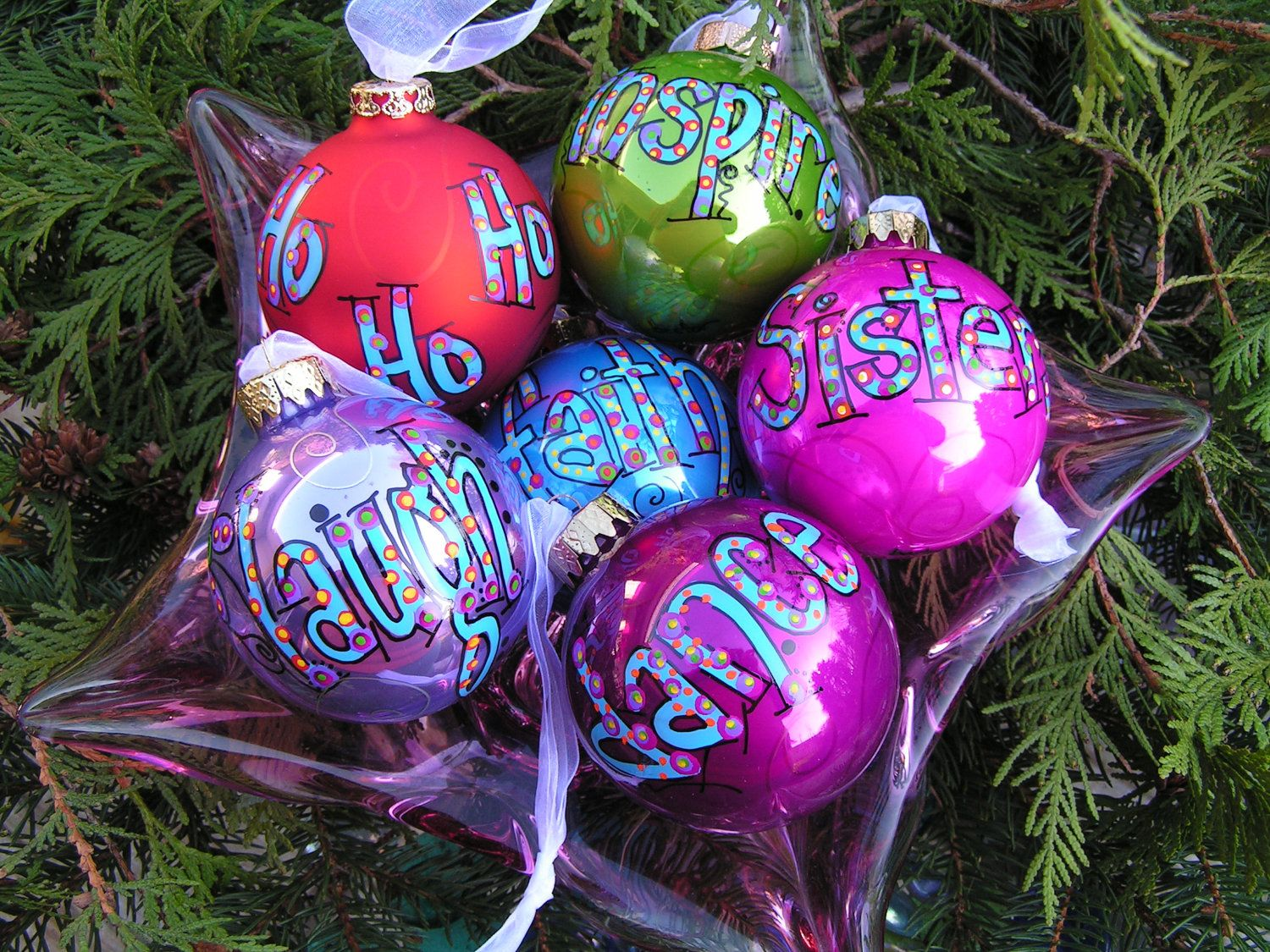 Whimsical word or name ornaments Christmas Ornament Pinterest