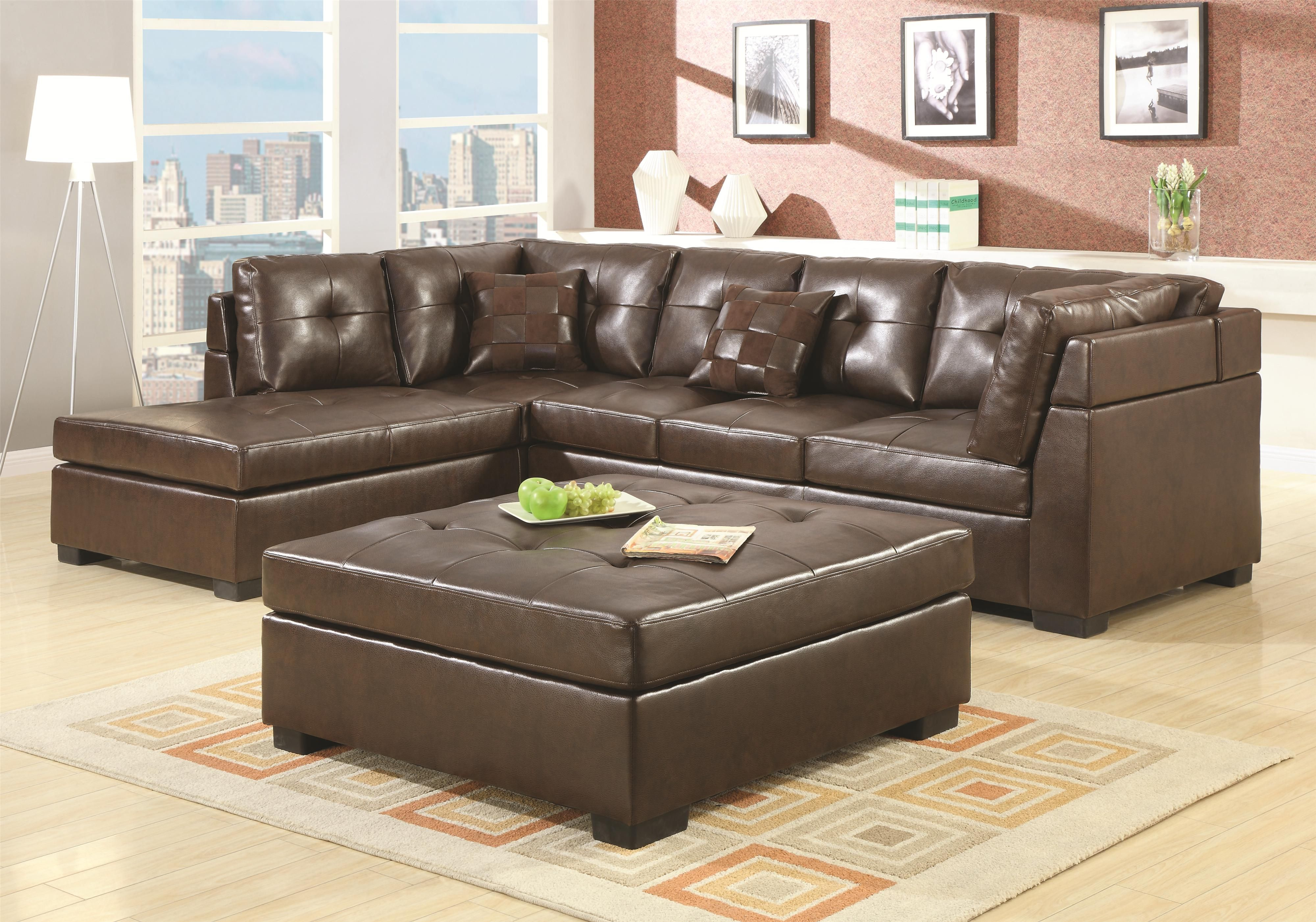 Darie Leather Sectional Sofa with Left Side Chaise by Coaster