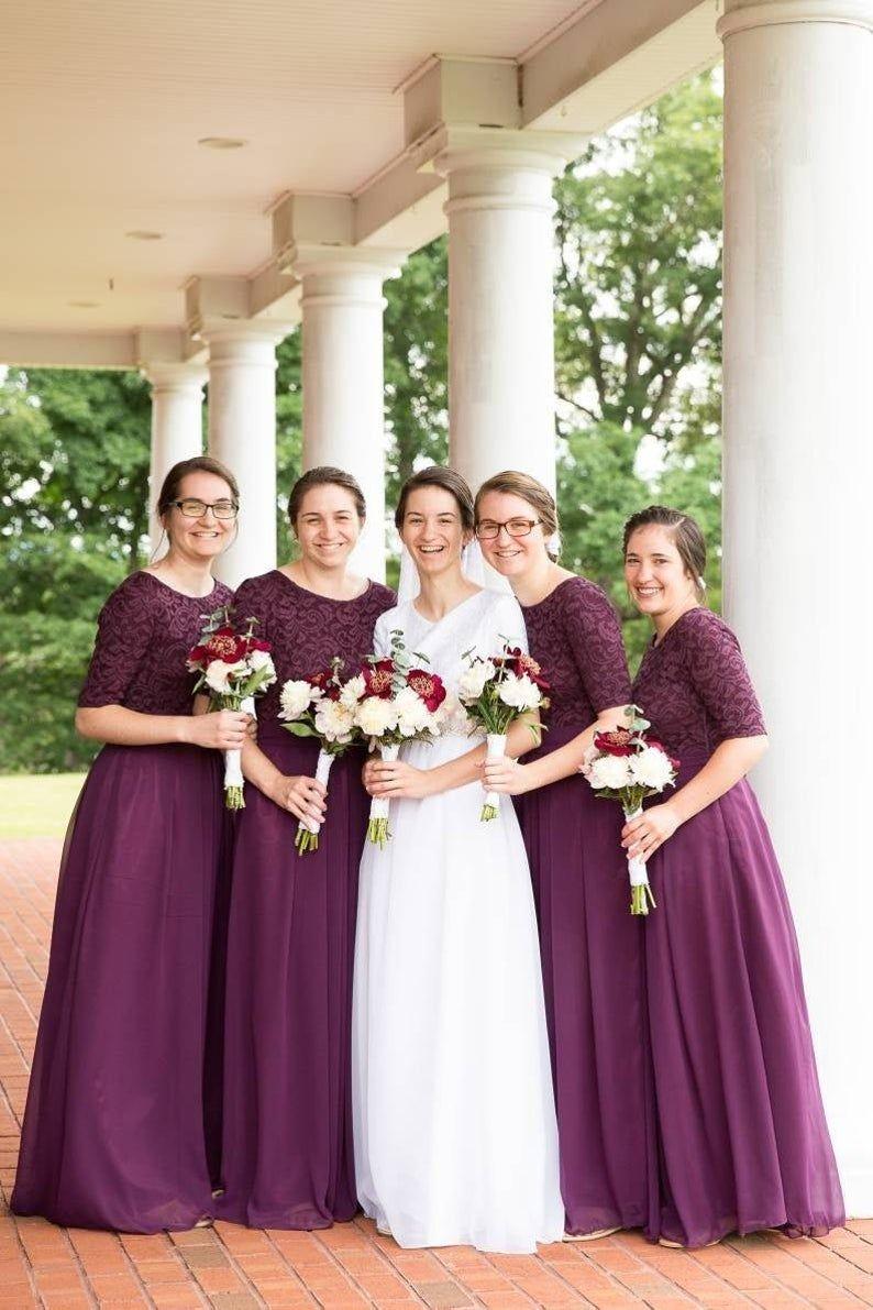 Dark Purple Bridesmaid Dress Long Lace And Chiffon Dress With Etsy Modest Bridesmaid Dresses Long Purple Bridesmaid Dresses Long Dark Purple Bridesmaid Dresses [ 1191 x 794 Pixel ]