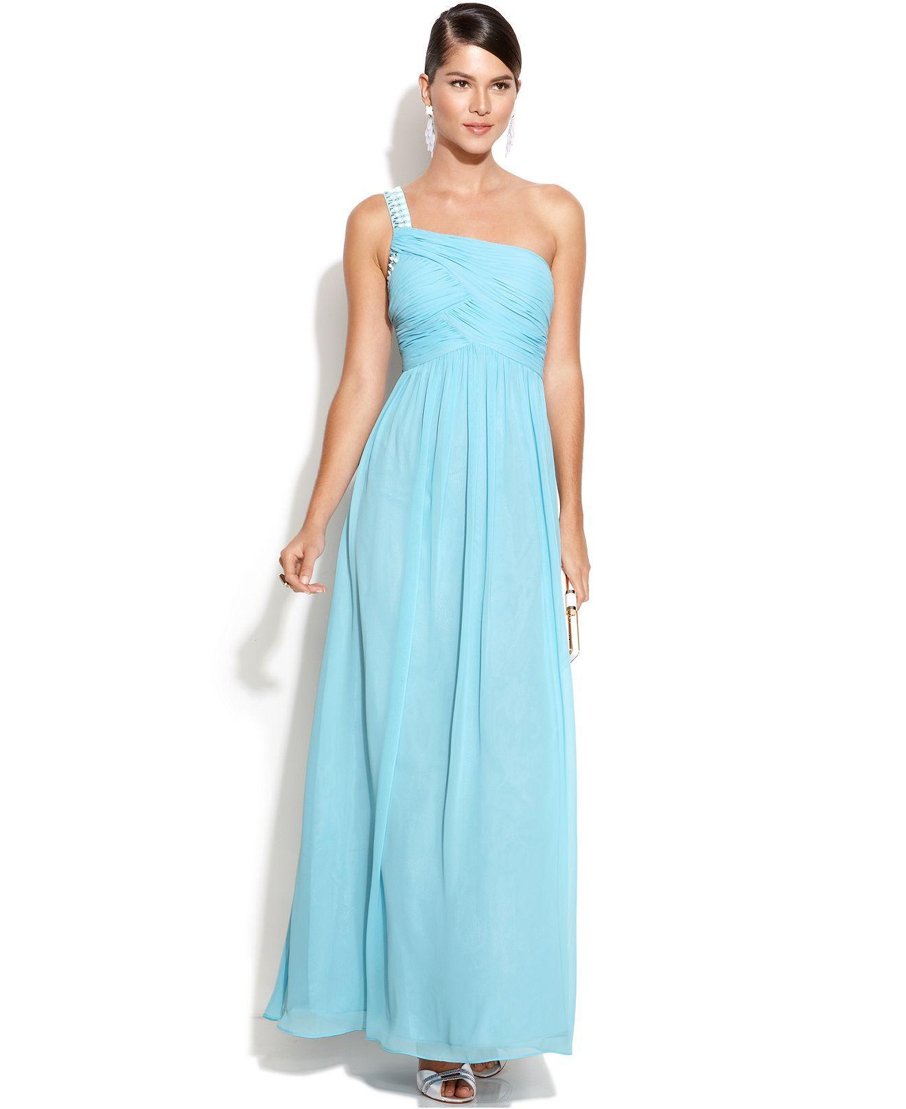 Calvin Klein -shoulder Embellished Ruched Gown