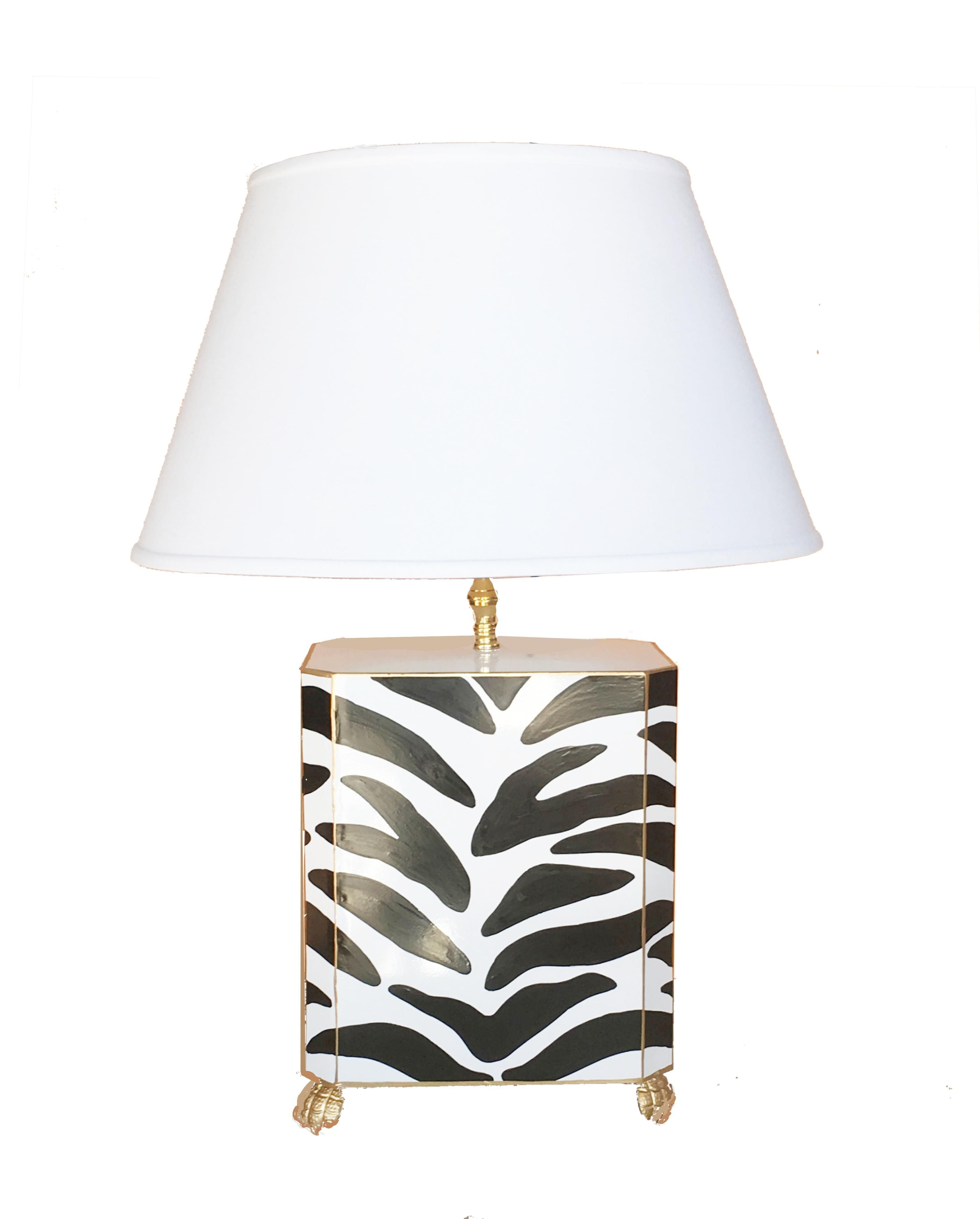 Dana Gibson Tole Painted Zebra Table Lamp With Images Table
