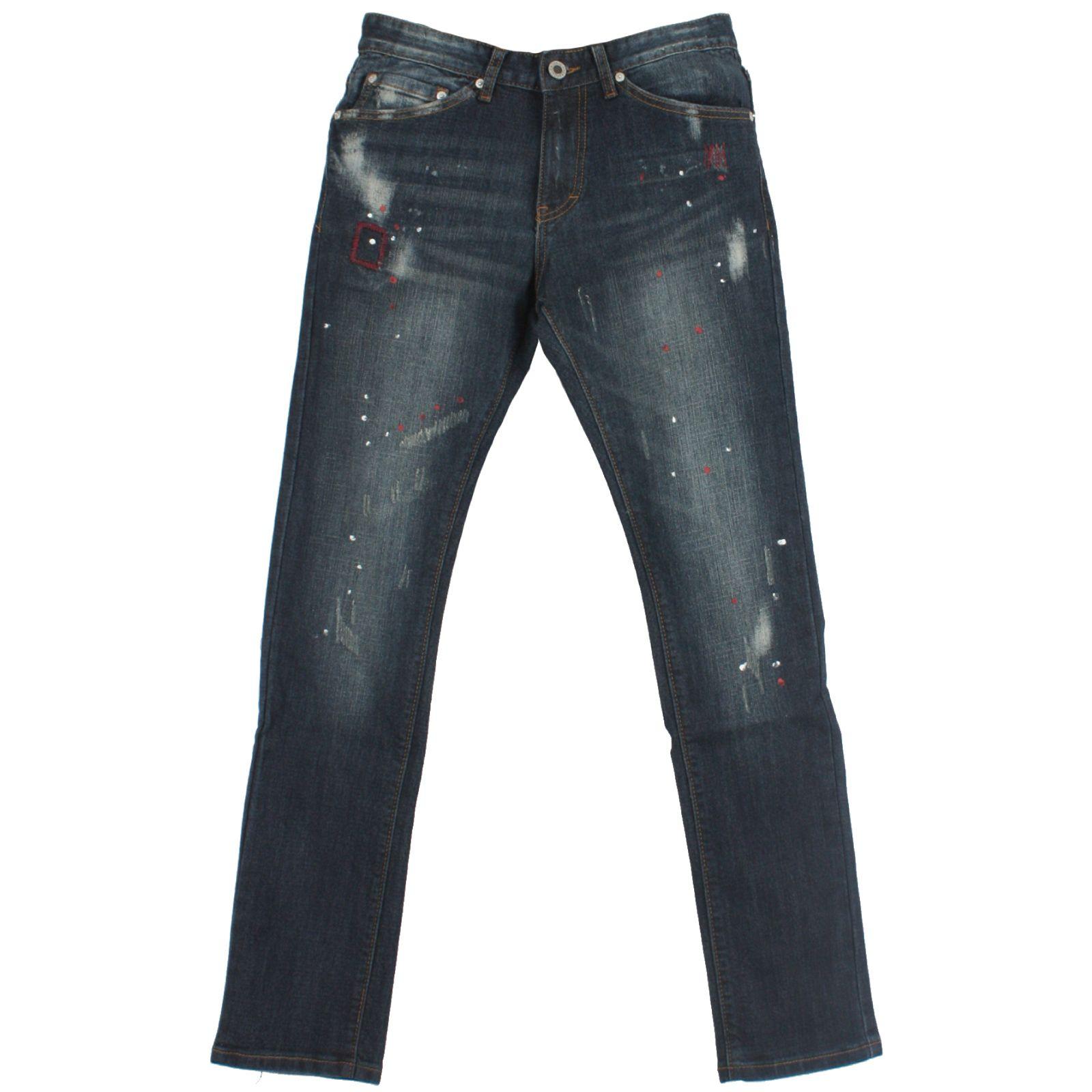 T581 Scratch Pattern Paint Washing Biker Denim Jeans 30~46 Plus Size Long Pants