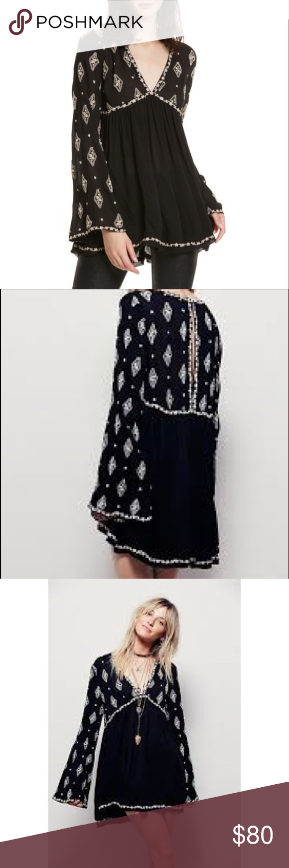 Free people diamond embroidered bell sleeve top nwt bell sleeve