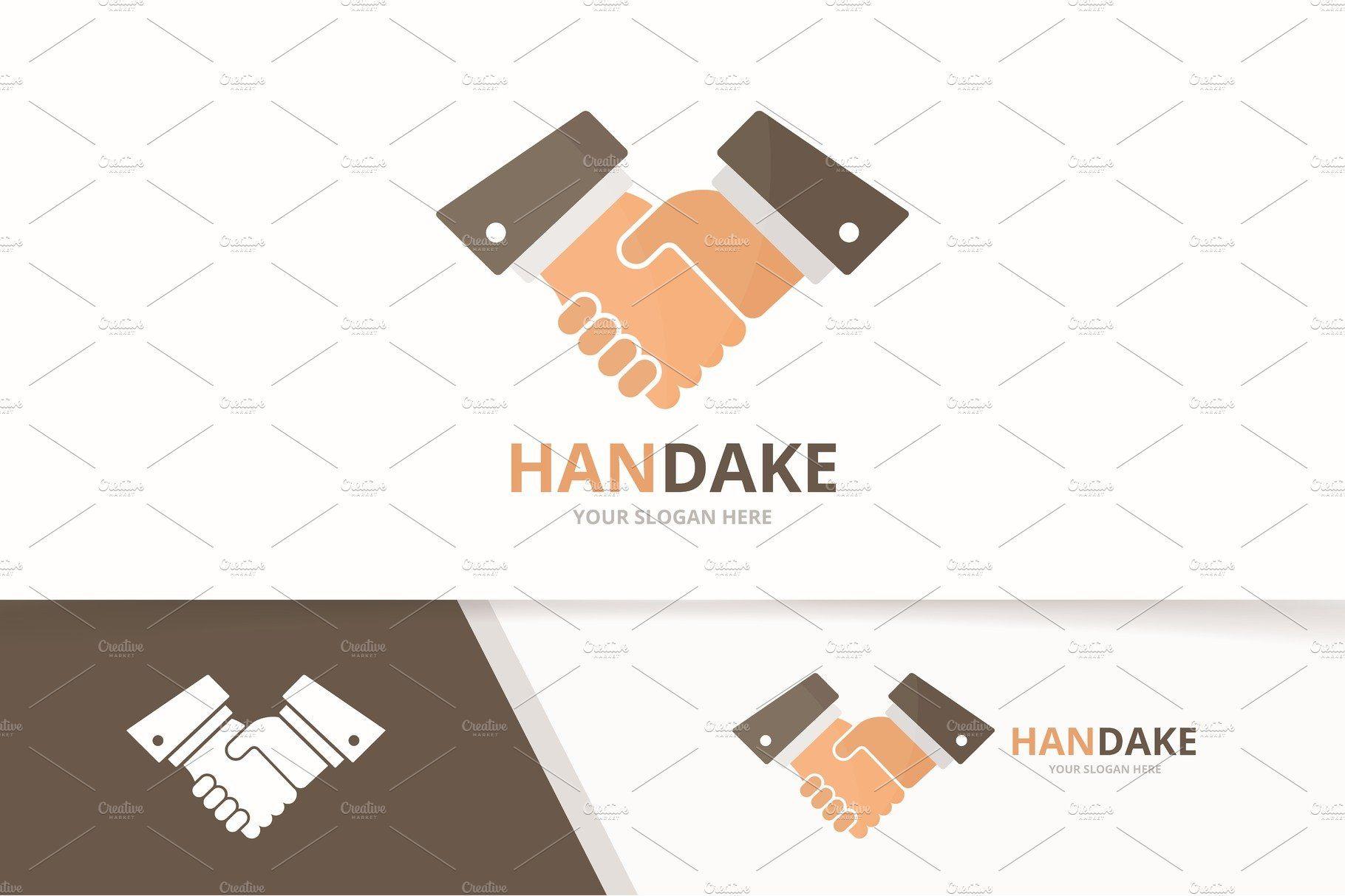 Vector handshake logo combination. , sponsored, download