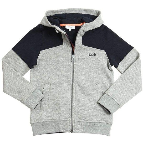 Hugo Boss Kids-boys Cotton Zip Up Hooded Sweatshirt (920 NOK) ❤ liked on Polyvore featuring grey