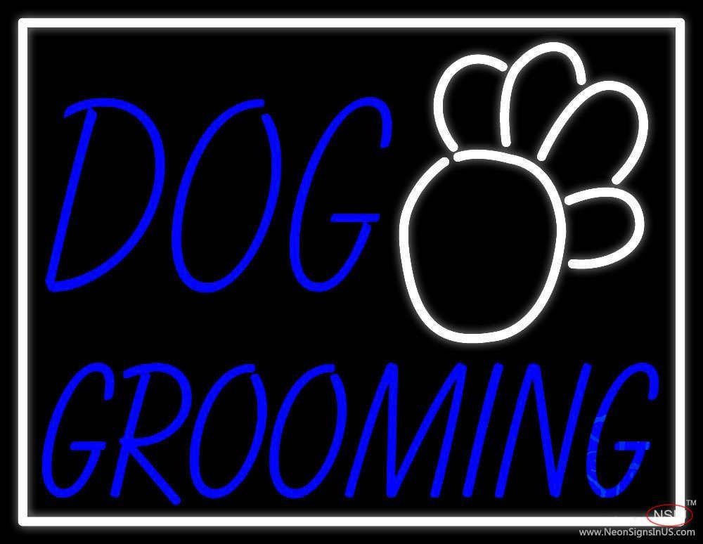 Blue Dog Grooming White Border Real Neon Glass Tube Neon