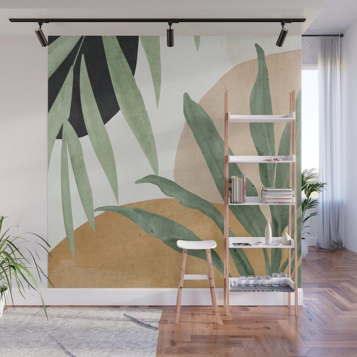 Abstract Art Tropical Leaves 4 Wall Mural by Thing