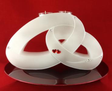 candle rings hochzeitskerze exklusiv zwei ringe mit teelichteinsatz rote herzen. Black Bedroom Furniture Sets. Home Design Ideas