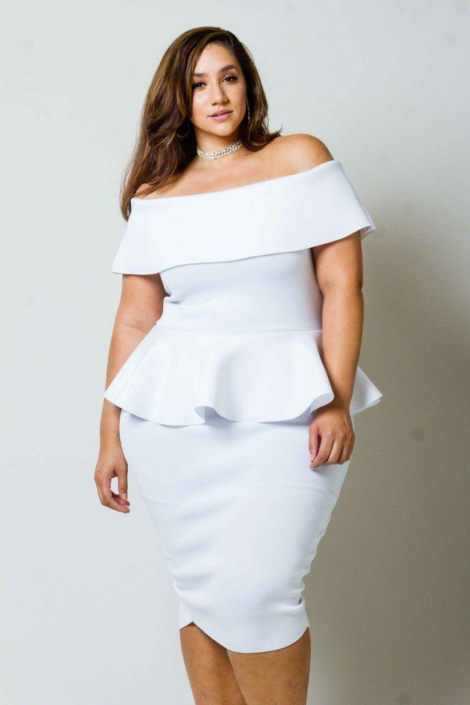 45+ Plus size white peplum dress information