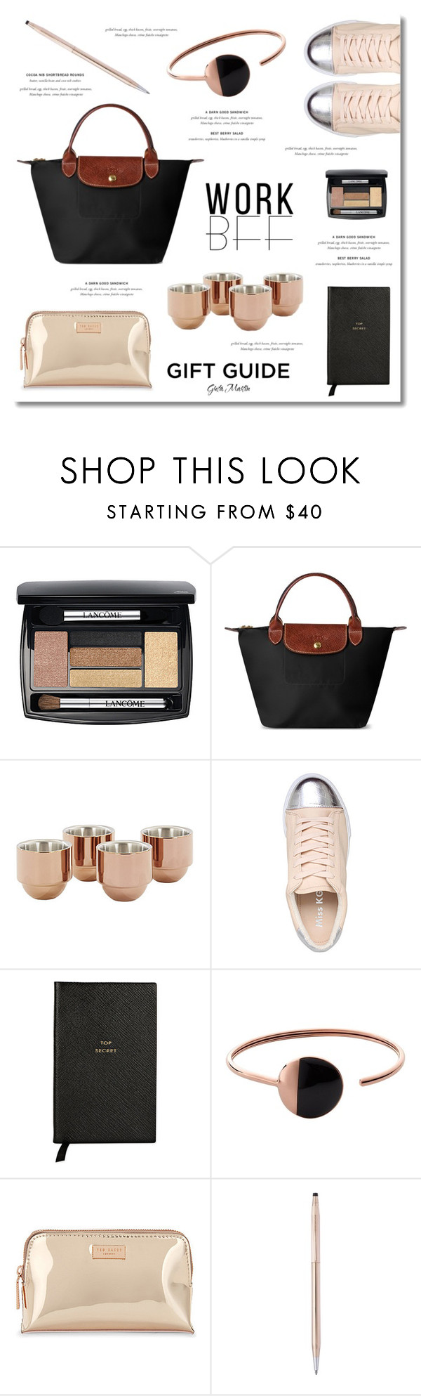 """Gift Guide: Work BFF ... 2016"" by greta-martin ❤ liked on Polyvore featuring Lancôme, Longchamp, Tom Dixon, Miss KG, Smythson, Skagen, Ted Baker, Cross, giftguide and black"