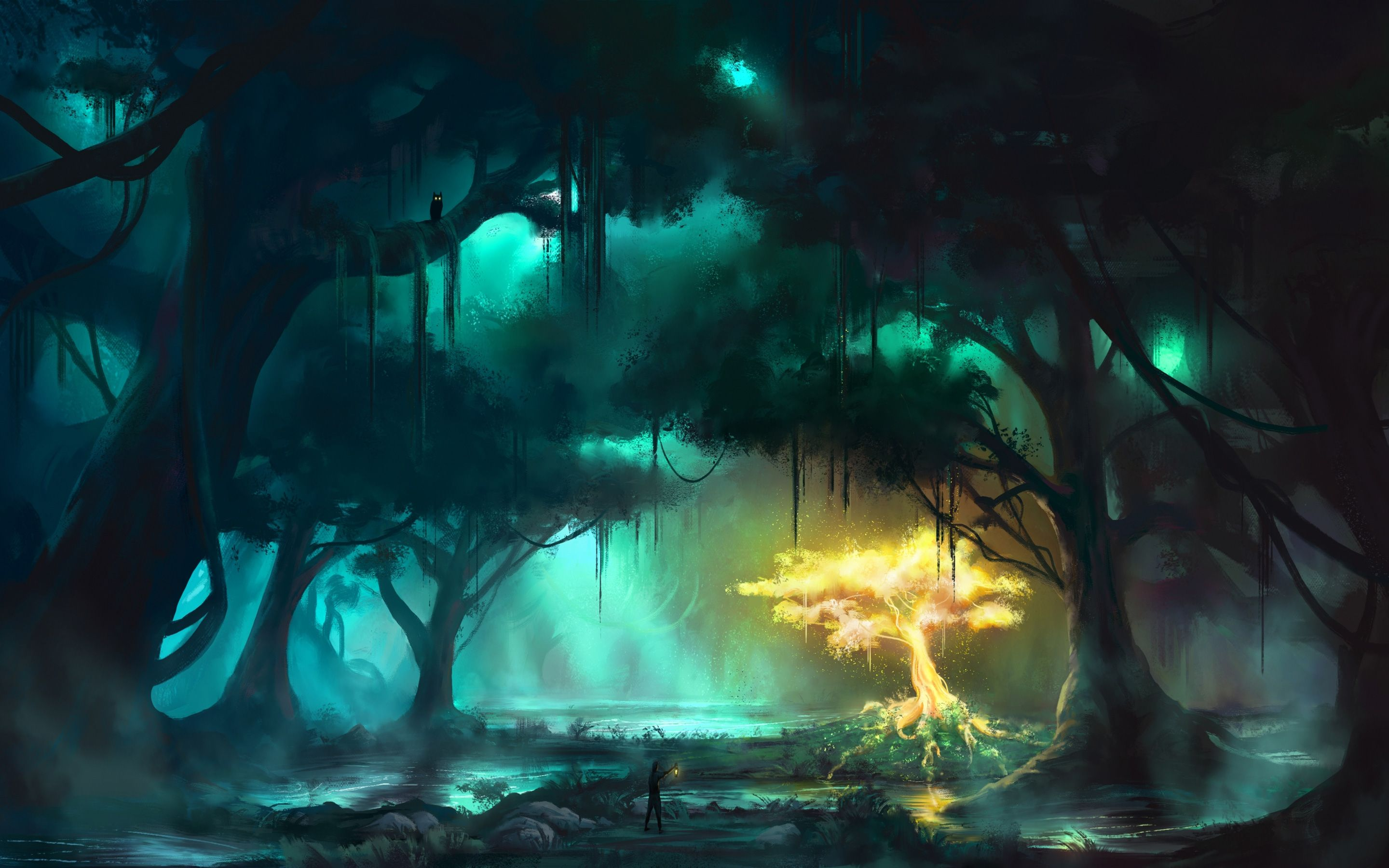 Fantasy Forest Lighting Tree Art Hd Wallpaper 2880x1800 Fantasy Forest Fantasy Landscape Environment Concept Art